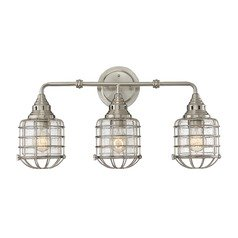 Seeded Glass Bathroom Light Satin Nickel Savoy House