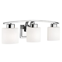 Chrome Bathroom Wall Light with White Oval Glass - Three Lights