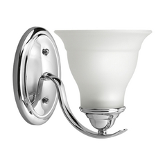 Progress Sconce Wall Light with White Glass in Chrome Finish