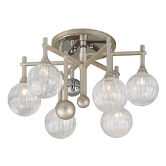 Mid-Century Modern Semi-Flushmount Light Silver Leaf / Chrome Majorette by Corbett Lighting