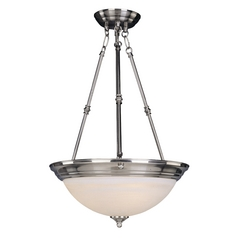 Maxim Lighting Essentials Satin Nickel Pendant Light with Bowl / Dome Shade