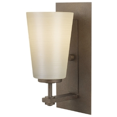 Modern Sconce Wall Light with White Glass in Corinthian Bronze Finish