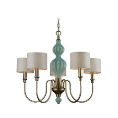 Chandelier with White Shades in Aged Silver Finish