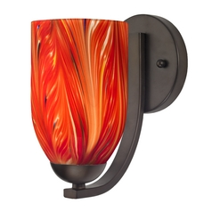 Sconce with Red Art Glass in Bronze Finish