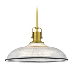 Farmhouse Industrial Prismatic Pendant Light Brass / Black 14.38-Inch Wide