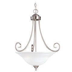 Savoy House Satin Nickel Pendant Light with Bowl / Dome Shade