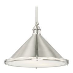 Capital Lighting Langley Brushed Nickel Pendant Light with Conical Shade