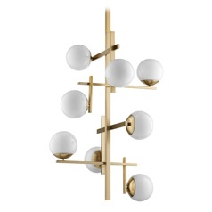 Mid-Century Modern Cluster Chandelier Brass Atom by Quorum Lighting