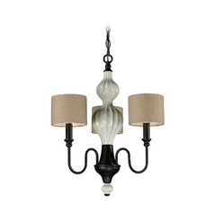 Mini-Chandelier with Beige / Cream Shades in Aged Bronze Finish