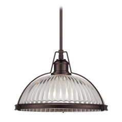 Pendant Light with Clear Glass in Dark Brushed Bronze Finish