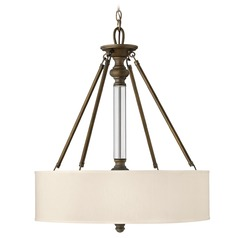 Drum Pendant Light with Beige / Cream Shade in English Bronze Finish