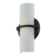 Modern LED Sconce Wall Light with White Glass in Aged Bronze Finish