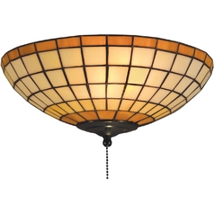 Flushmount Light with Multi-Color Glass in Tiffany Bronze Finish