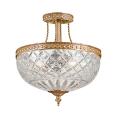 Crystal Semi-Flushmount Light with Clear Glass in Olde Brass Finish