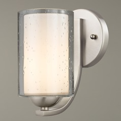 Modern Sconce Seeded Clear / Frosted White Glass Satin Nickel