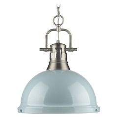 Golden Lighting Duncan Pewter Pendant Light with Bowl / Dome Shade