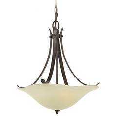 Pendant Light with Beige / Cream Glass in Grecian Bronze Finish