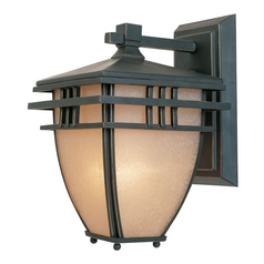 Outdoor Wall Light with Beige / Cream Glass in Aged Bronze Patina Finish