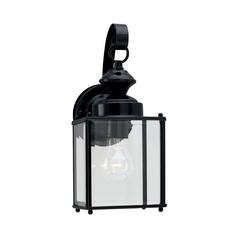 Sea Gull Lighting Outdoor Wall Light with Clear Glass in Black Finish 8457-12