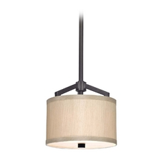 Dolan Designs Lighting Bronze Mini-Pendant with Beige Drum Shade Light 1881-40