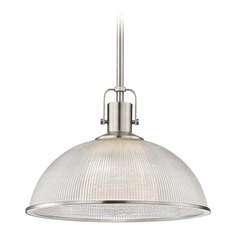 Prismatic Glass Pendant Light Satin Nickel 13.13-Inch Wide