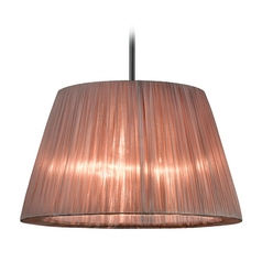 Barrel Pendant Light with Bronze Organza Shade