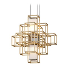 Corbett Lighting Metropolis Gold Leaf LED Pendant Light with Rectangle Shade