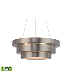Elk Lighting Layers Brushed Stainless LED Pendant Light with Drum Shade