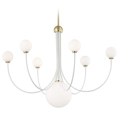 Mitzi Coco Aged Brass / White LED Chandeliers with Center Bowl