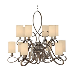 Chandelier with Gold Shades in Brushed Merlot Finish