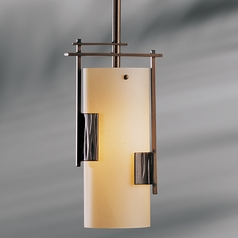 Hubbardton Forge Lighting Fullered Bronze Mini-Pendant Light with Cylindrical Shade