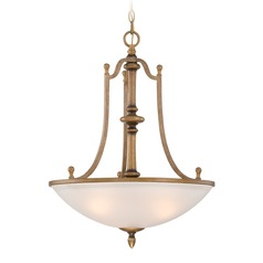 Designers Fountain Isla Aged Brass Pendant Light with Bowl / Dome Shade