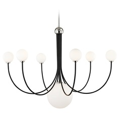 Mitzi Coco Polished Nickel / Black LED Chandeliers with Center Bowl
