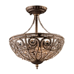 Semi-Flushmount Light in Dark Bronze Finish