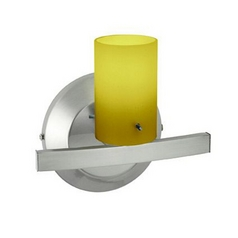 Modern Sconce Light with Amber Glass in Matte Chrome Finish