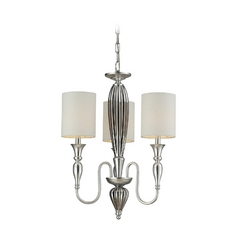 Elk Lighting Mini-Chandelier with White Shades in Silver Leaf Finish 46032/3-LA