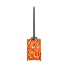 Modern Black Mini-Pendant Light with Multi-Colored Art Glass