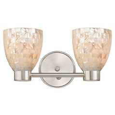 Aon Fuse Modern Satin Nickel Bathroom Light with Bell Glass