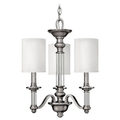 Hinkley 3-Light Mini Chandelier with Beige/Cream Shade in Brushed Nickel
