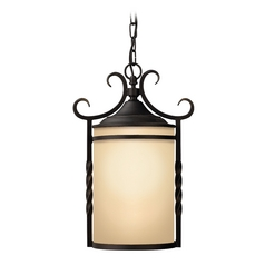 Outdoor Hanging Light with Amber Glass in Olde Black Finish