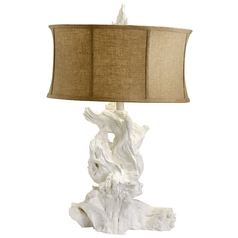 Cyan Design Driftwood White Table Lamp with Drum Shade