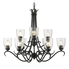 Seeded Glass Chandelier Black Golden Lighting