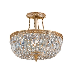 Crystal Semi-Flushmount Light in Olde Brass Finish