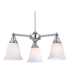 Chandelier with White Glass in Chrome Finish