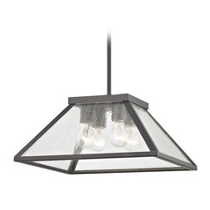 Industrial Pendant Light in Bronze with Tapered Square Glass