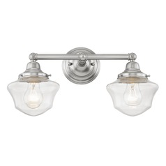Clear Glass Schoolhouse Bathroom Light Satin Nickel 2 Light 17 Inch Length
