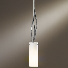 Hubbardton Forge Lighting Brindille Burnished Steel Mini-Pendant Light with Cylindrical Shade