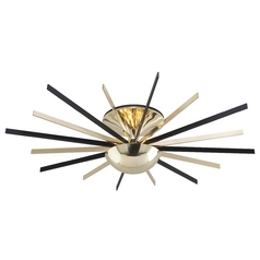Troy Lighting Atomic Polished Brass with Matte Black LED Semi-Flushmount Light