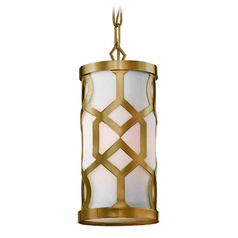 Crystorama Lighting Jennings Aged Brass Mini-Pendant Light with Cylindrical Shade