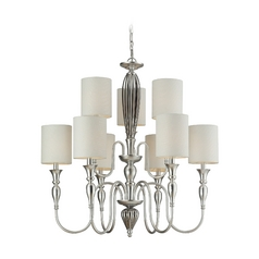 Chandelier with White Shades in Silver Leaf Finish